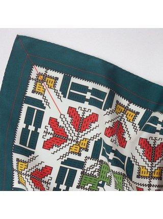 Hedvábný šátek I zelenobílý