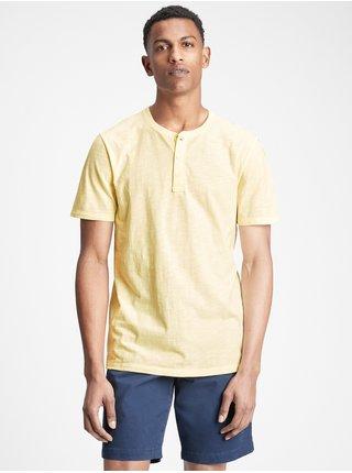 Žluté pánské tričko lived-in henley t-shirt