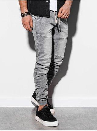 Pánske riflové jogger nohavice P551 - šedé