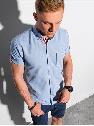 Pánská košile s krátkým rukávem K489 - nebesky modrá