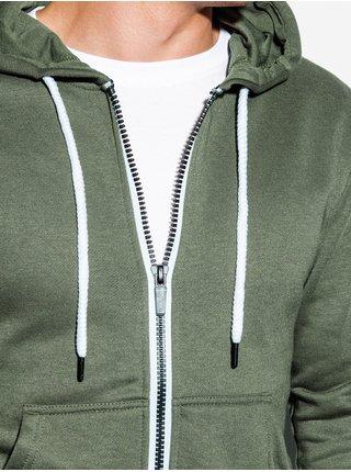 Pánská mikina na zip s kapucí B977 - khaki