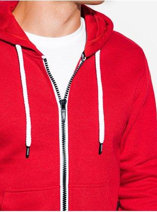 Pánská mikina na zip s kapucí B977 - červená