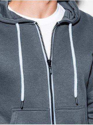 Pánská mikina na zip s kapucí B977 - šedá