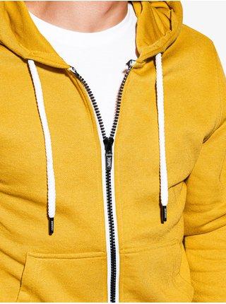 Pánská mikina na zip s kapucí B977 - žlutá