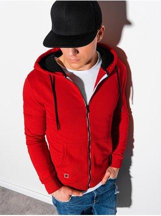 Pánská mikina na zip s kapucí B1223 - červená