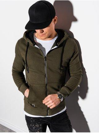 Pánska mikina na zips s kapucňou B1223 - khaki