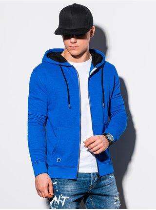 Pánská mikina na zip s kapucí B1223 - nebesky modrá