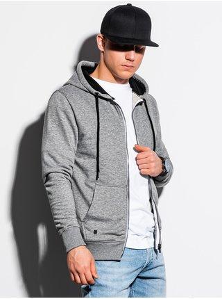 Pánská mikina na zip s kapucí B1223 - šedá