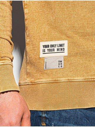 Pánská mikina bez kapuce B1173 - hořčicová