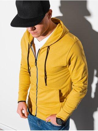 Pánska mikina na zips s kapucňou B1152 - žltá