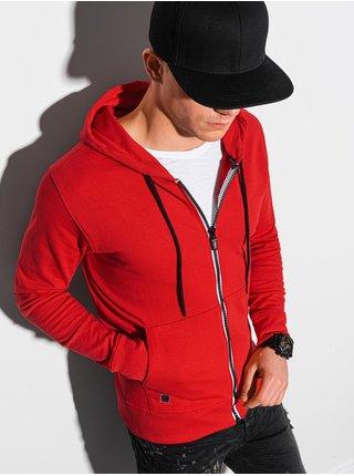 Pánská mikina na zip s kapucí B1152 - červená