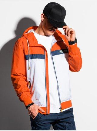Pánska jarná bunda C438 - biela/oranžová