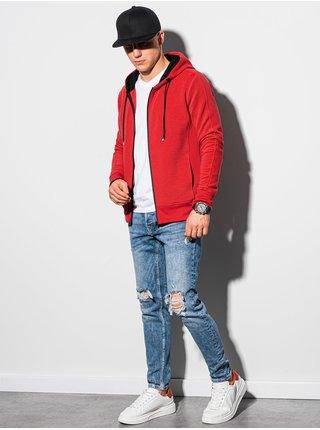 Pánská mikina na zip s kapucí B1157 - červená