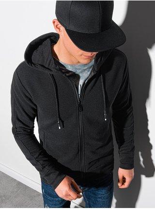 Pánska mikina na zips s kapucňou B1157 - čierna