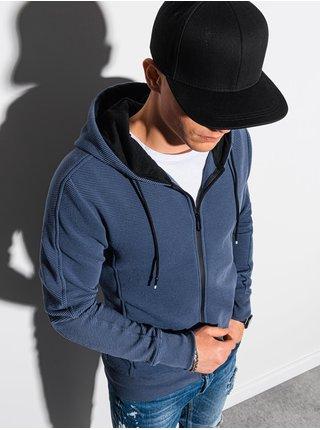 Pánská mikina na zip s kapucí B1157 - nebesky modrá