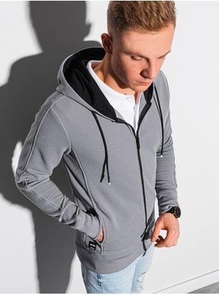Pánská mikina na zip s kapucí B1157 - šedá