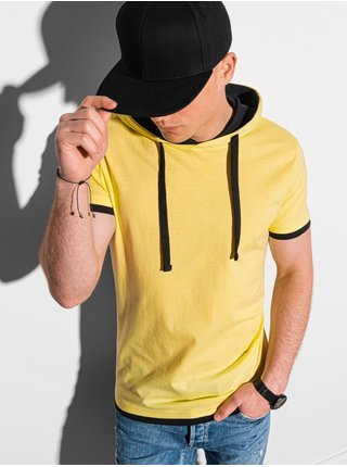 Pánske tričko s kapucňou S1376 - žltá