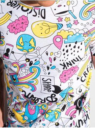 Pánske tričko s potlačou S1421 - biela