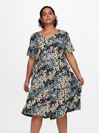 Modré kvetované šaty ONLY CARMAKOMA Vaga