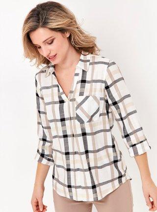 Šedo-krémová kockovaná košeľa M&Co