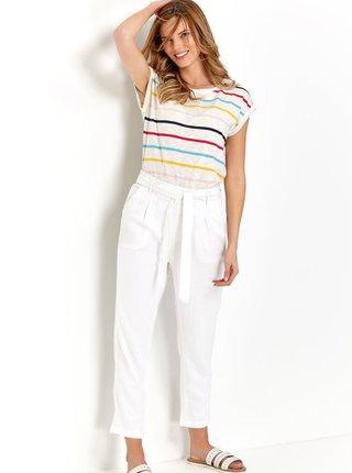 Bílé zkrácené lněné kalhoty se zavazováním M&Co