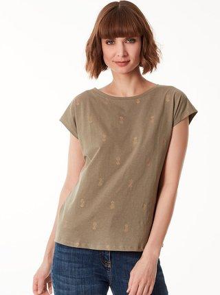 Khaki vzorované volné tričko M&Co