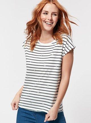 Čierno-biele pruhované voľné tričko M&Co