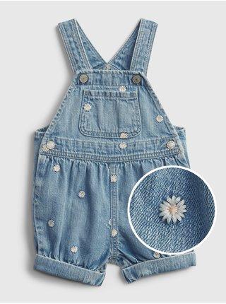 Modré holčičí baby džínové kraťasy s lacelm denim shortalls