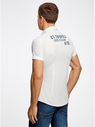 Košile s kapsičkami na prsou a nápisem na zádech OODJI