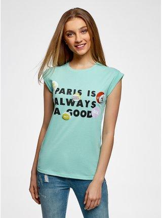 Tričko s nápisom so záložkami na rukávoch OODJI