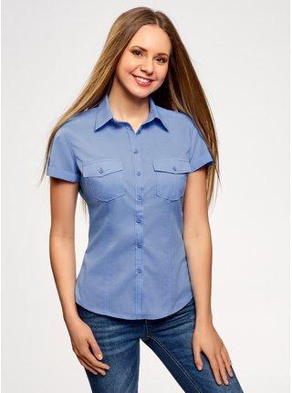 Košile bavlněná s kapsičkami na prsou OODJI