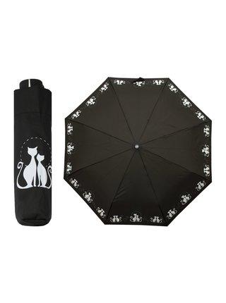 Doppler Dreaming Cats dámský skládací deštník s bílými kočkami - Černá