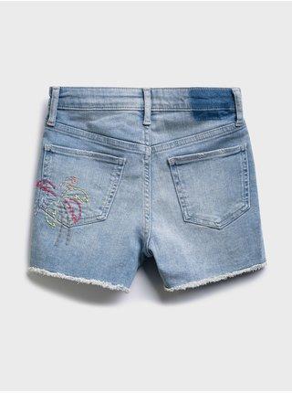 Modré holčičí dětské džínové kraťasy hr shortie - lt palm emb