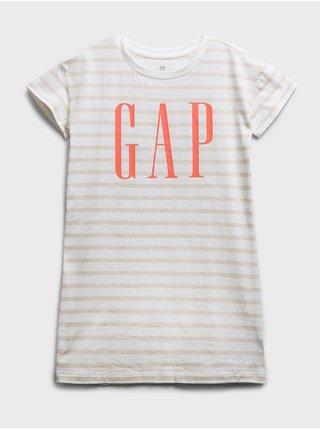 Béžové holčičí dětské šaty GAP Logo shift dress