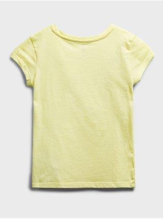 Žluté holčičí dětské tričko GAP Logo arch t-shirt