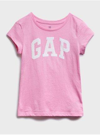 Růžové holčičí dětské tričko GAP Logo arch t-shirt