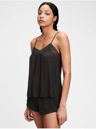 Černé dámské pyžamový top GAP adult truesleep tencel modal lace cami