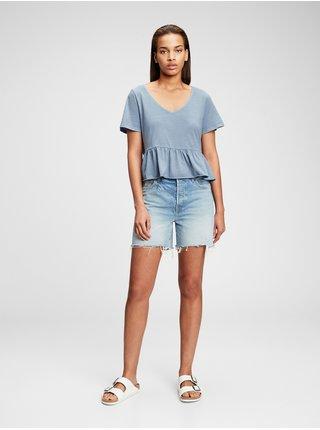 Modré dámské tričko GAP short sleeve vintage peplum t-shirt