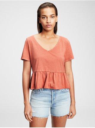 Hnědé dámské tričko GAP short sleeve vintage peplum t-shirt
