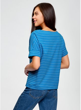 Tričko bavlnené pruhované OODJI