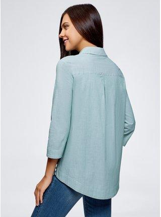 Košeľa voľného strihu s predĺženými chrbtom OODJI
