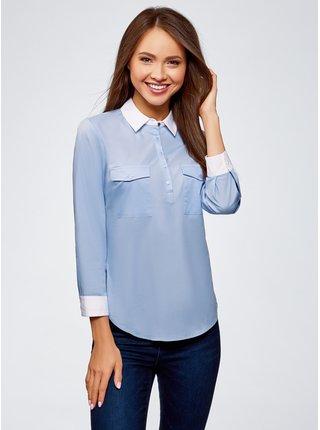 Košile bavlněná s kapsami na prsou OODJI