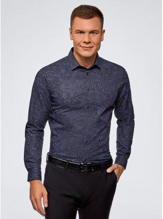 Košeľa bavlnená s kašmírovým potlačou OODJI