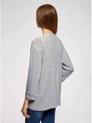 Kabátik pletený sa chrbtom s ažúrovým vzorom OODJI
