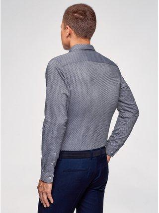 Košeľa bavlnená s vreckom na prsiach OODJI