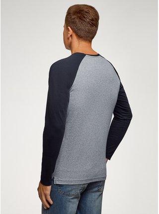 Tričko klasické s dlhým raglánovým rukávom OODJI