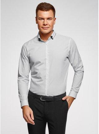 Košile bavlněná s kontrastním lemováním límečku OODJI