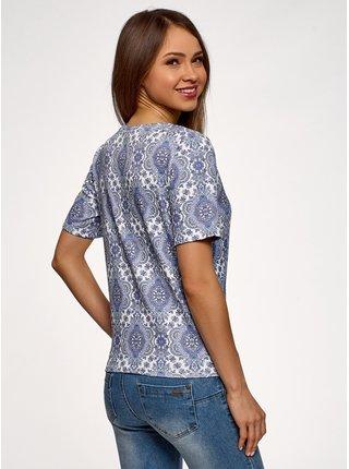 Tričko rovné z materiálu s výraznou textúrou OODJI