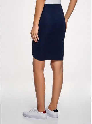 Sukne úpletová s asymetrickou dĺžkou sukne OODJI