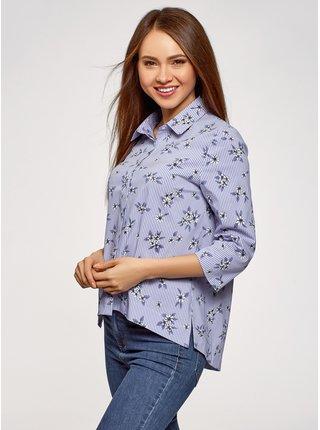 Košile volného střihu asymetrické délky OODJI